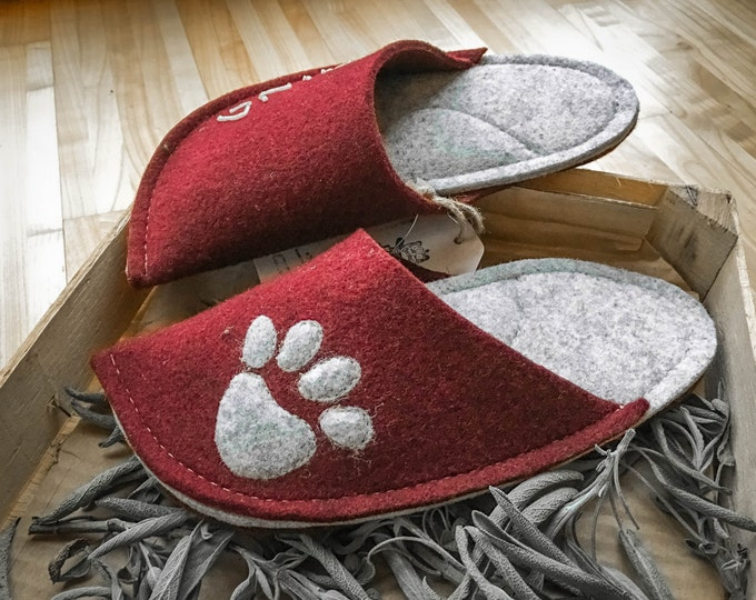 Light Gray and Burgundy Red Combination with a Dog Paw Patch
