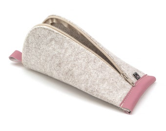 Cream White Wool Felt, Pink Vegan Leather