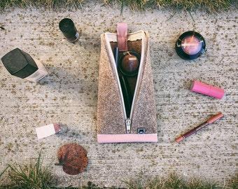 Tan Brown Wool Felt, Rose Pink Leather