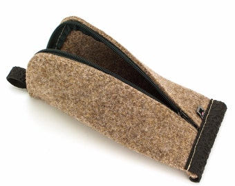 Tan Brown Wool Felt, Black Rubber