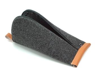 Black Wool Felt, Orange Vegan Leather
