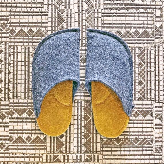 e28bb63d24 Wool Felt Indoor Slippers for Men and Women