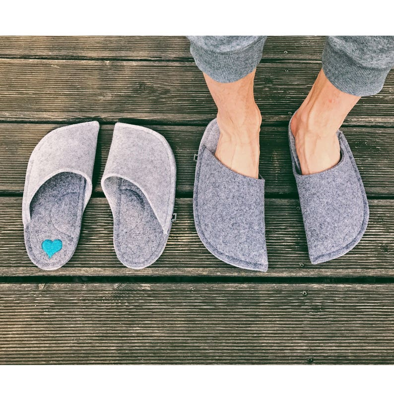 26e9793e9d419 Felt Slippers - Mens Slippers - Grey House Shoes