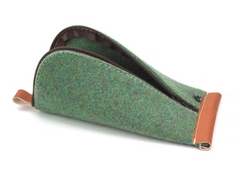 Dark Green Wool Felt, Ginger Brown Vegan Leather