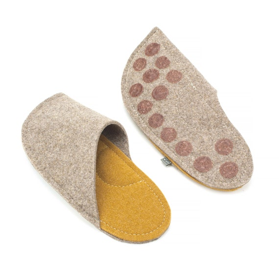 41a300e295 Curcuma Yellow Wool Felt Matching Slippers