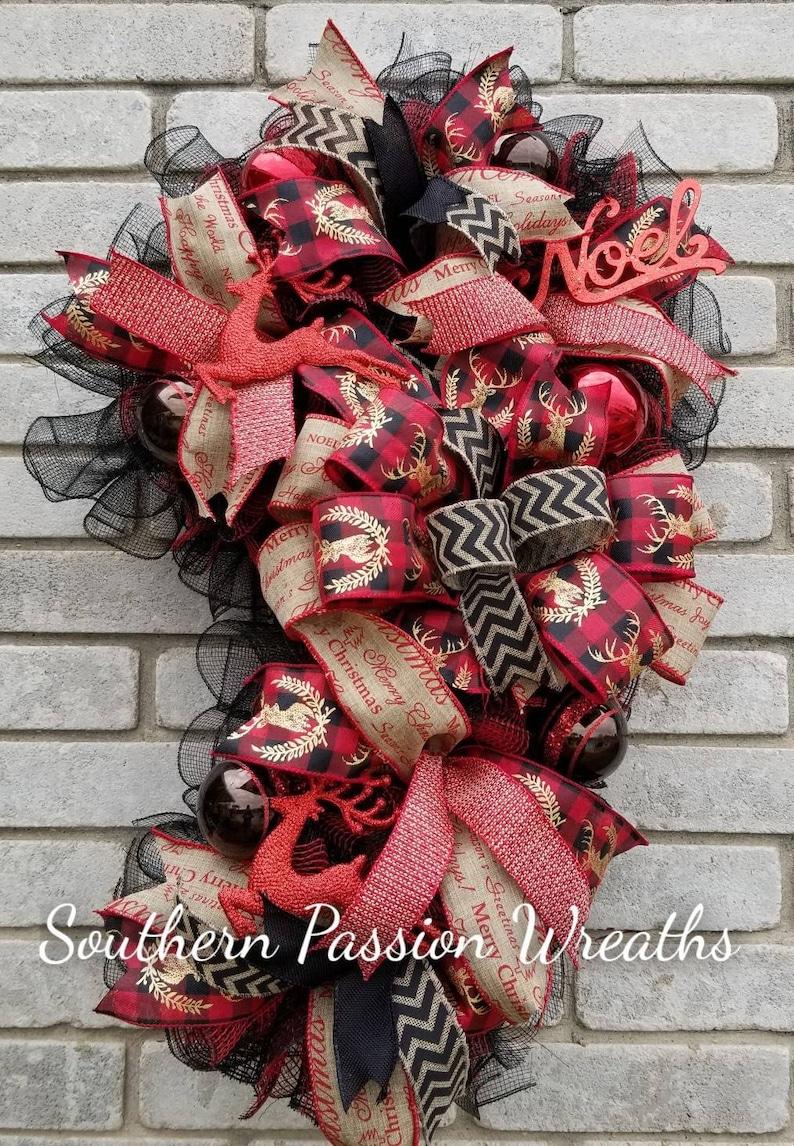 Buffalo plaid Candy Cane Wreath Merry Christmas Wreath candy cane decor Christmas wreath free shipping