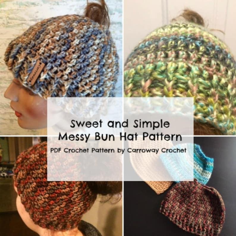 04fa644a915 Messy Bun Hat Crochet Pattern 2 in 1 PDF pattern Sweet