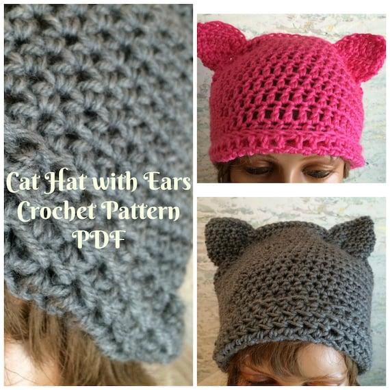 Pussy Hat With Shaped Ears Crochet Pattern Pussy Hat Pattern Etsy Amazing Pussyhat Pattern