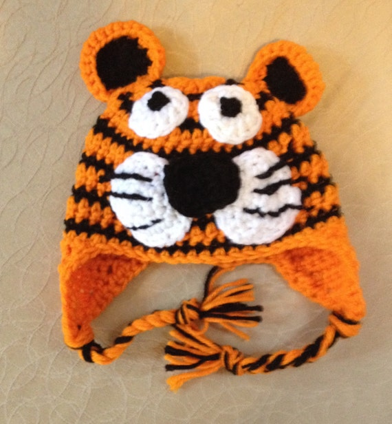 Tiger hat crochet tiger hat made to order baby hat to adult  ffb2c4eccb6
