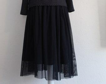 Feather-light organic cotton tulle skirt in dark blue