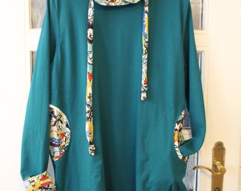 Hoody dress with collar and pockets Gr.S-XL