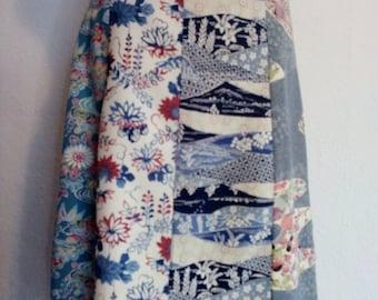 Silk skirt made of kimonoseide light blue,blue,cream,colorful gr.M