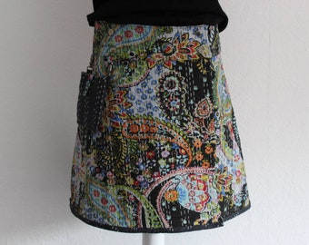 Reversible wrap skirt in Kantha cotton fabric
