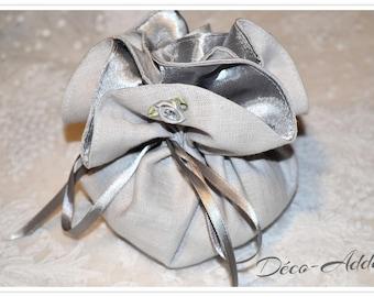 Pearl Grey linen pouch - light grey satin ribbon