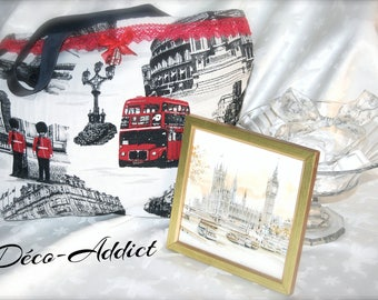 London Theme tote bag red black and gray