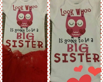 Sparkly Big sister shirt with owl
