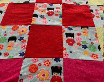 Baby Girls/Toddler Quilt/Doll Quilt/Chinese Dolls/Crib Quilt/Play Quilt/Colorful Quilt/New Baby/First Birthday/Baby Shower/Little Girl Quilt