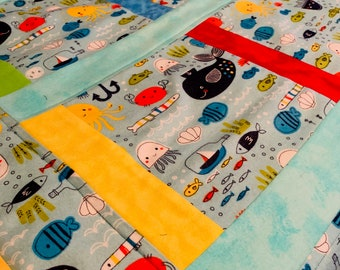 Baby/Toddler Quilt/Play Quilt/Crib Quilt/New Baby/Baby Shower/1st Birthday/Soft Fleece Quilt/Colorful Blanket/Sea animals Quilt/Jelly Fish