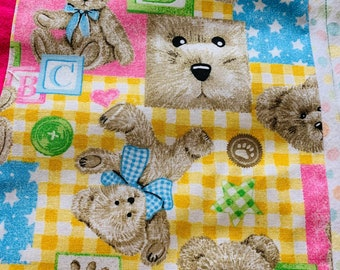 Baby/Toddler Quilt/Play Quilt/Crib Quilt/New Baby/Baby Shower/1st Birthday/Soft Fleece Quilt/Bears Quilt/Alphabets Quilt/Crib Quilt/Wrap