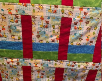 Baby Quilt/Toddler Quilt/Baby Animals Quilt/Jungle Babies Quilt/Baby Shower/New Baby/First Birthday/Crib Quilt/Easter Quilt/Baby Blanket