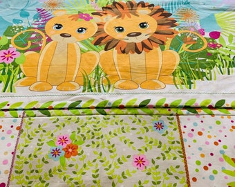 Baby/Toddler Quilt/Jungle Babies/New Baby/Baby Shower/1st Birthday/Crib Quilt/Elephant Quilt/Monkey Quilt/Baby Wrap/Colorful Cotton Quilt