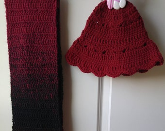 Scarf with Hat/Maroon Scarf/Cozy Hat with Scarf/Xmas Gift/Birthday Gift/Adult Hat/Woman's Hat with Scarf/Chunky Scarf/Winter Scarf Set