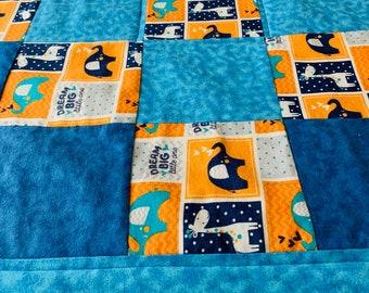 Baby/Toddler Quilt/Play Quilt/Crib Quilt/New Baby/Baby Shower/1st Birthday/Soft Fleece Quilt/Elephants/Giraffe Quilt/Dream Big Quilt/