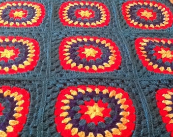 Blanket/Afghan/Bed Spread/Granny Square/Crocheted Throw/Lap Blanket/Birthday/Throw/Christmas/Anniversary/Housewarming/Mother's Day/Easter