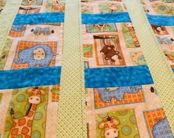 Baby/Toddler Quilt/Crib Quilt/New Baby/Baby Shower/First Birthday/Animals Quilt/Giraffe/Elephant/Turtle/Alligator/Bear/Birds/Jungle Babies