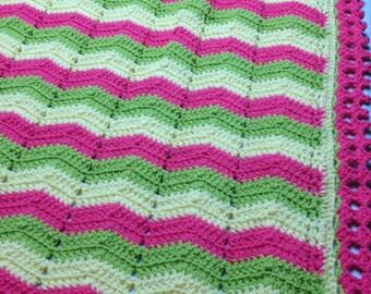 Baby / Toddler Blanket, Crocheted Throw, Baby Afghan, Crib Blanket, Lap Blanket, Ripple Afghan, Mom & Grandma, Baby Shower, Dorm Room