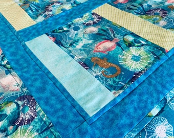 Baby/Toddler Quilt/Play Quilt/Crib Quilt/New Baby/Baby Shower/1st Birthday/Soft Fleece Quilt/Birthday/Sea Animals/Fish Quilt/Colorful Quilt