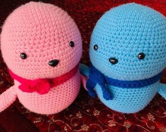 Seal/Baby Seal/Amigurumi Seal/Handmade Seal/New Baby/Baby Shower/Baby Gift/Birthday/Blue Seal/Pink Seal/Stuffed Toy/Crib Toy/Huggable Seal
