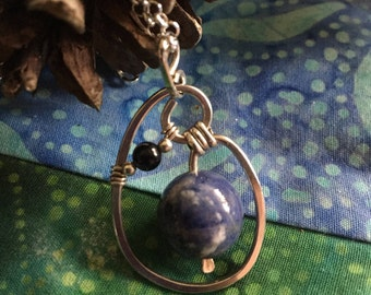 Sterling Silver Hand Forged and Wire Wrapped Unique Sodalite and Blue Goldstone Pendent