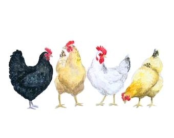 CHICKEN GATHERING PRINT - farm art, chicken painting, farm painting, chicken art, chicken print, farm animal,  vegan christmas gift, chicken