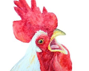 CHICKEN SING PRINT - Chicken painting, Chicken art, Chicken, Farm art, Farm painting, Farm animal prints, Chicken print, Painting, Chickens