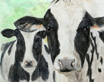 HOLSTEIN COW - Cow painting, Cow pictures, Cow art, Farm art, Farm painting, Cow print, Farm animal prints, Cow paintings, Cow wall art, Cow