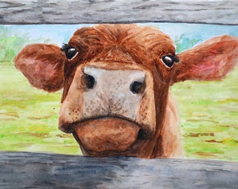 BABY COW PRINT - Cow painting, Cow pictures, Cow art, Farm art, Farm painting, Cow print, Farm animal prints,  vegan gift, Cow wall art