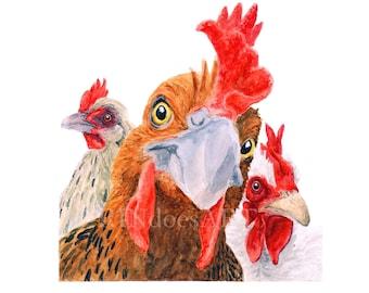 CHICKEN BOSS PRINT - farm art, chicken painting, chicken art, chicken print, farm animal print,  vegan art gift,  vegan gift, chicken decor
