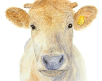 WHITE COW PRINT - Cow painting, Cow pictures, Cow art, Farm art, Farm painting, Cow print, Farm animal prints, Cow paintings, Cow wall art