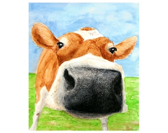 CURIOUS COW PRINT - Cow painting, Cow pictures, Cow art, Farm art, Vegan Art, Cow print, Farm animal prints, Cow paintings, Cow wall art