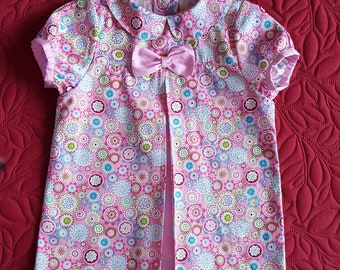 Dress baby girl 12 months pink print multicolored