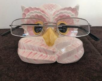 Ceramic Pink Owl eye glasses holder
