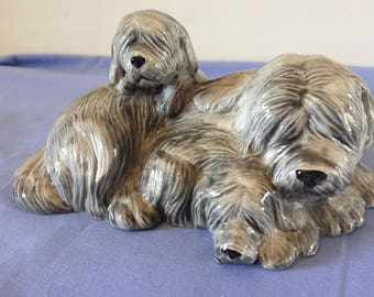 Ceramic bearded collie statue