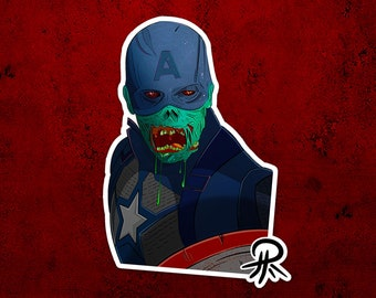 Zombie Captain America Sticker  - Car Decal, Laptop, Waterbottle Sticker, Inspired Marvel What If greetings card design