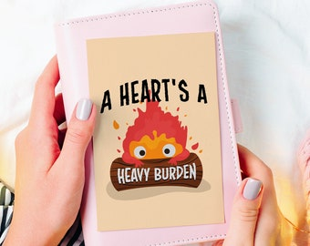 Calficer A5 Card + Envelope - Inspired Howl's Moving Castle print, valentines, Calcifer, Fire Demon Perfect