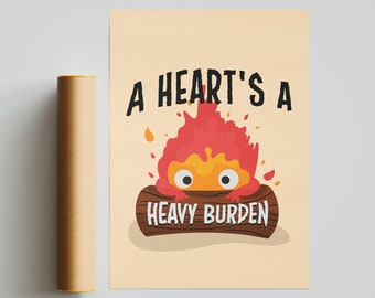 Calficer - Inspired Howl's Moving Castle print, valentines, Calcifer, Fire Demon Perfect