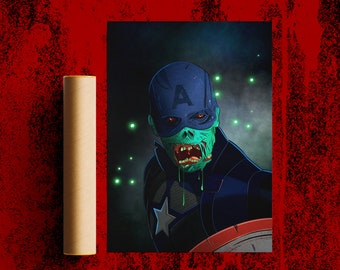Zombie Captain America poster + A4/A5 - Inspired Marvel What If poster design
