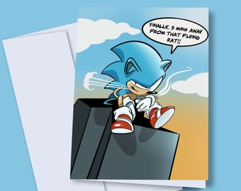 Sonic A5 Card + Envelope - Sonic the Hedghog, illustration, Funny, Tails, Miles,