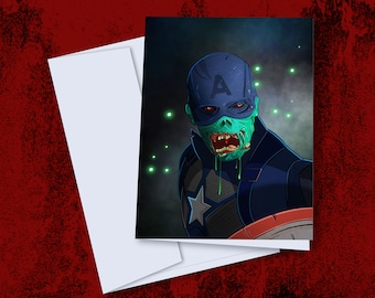 Zombie Captain America A5 Card + Envelope - Inspired Marvel What If greetings card design