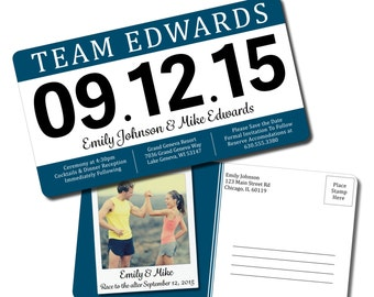 Save the Date Race Bib Postcard